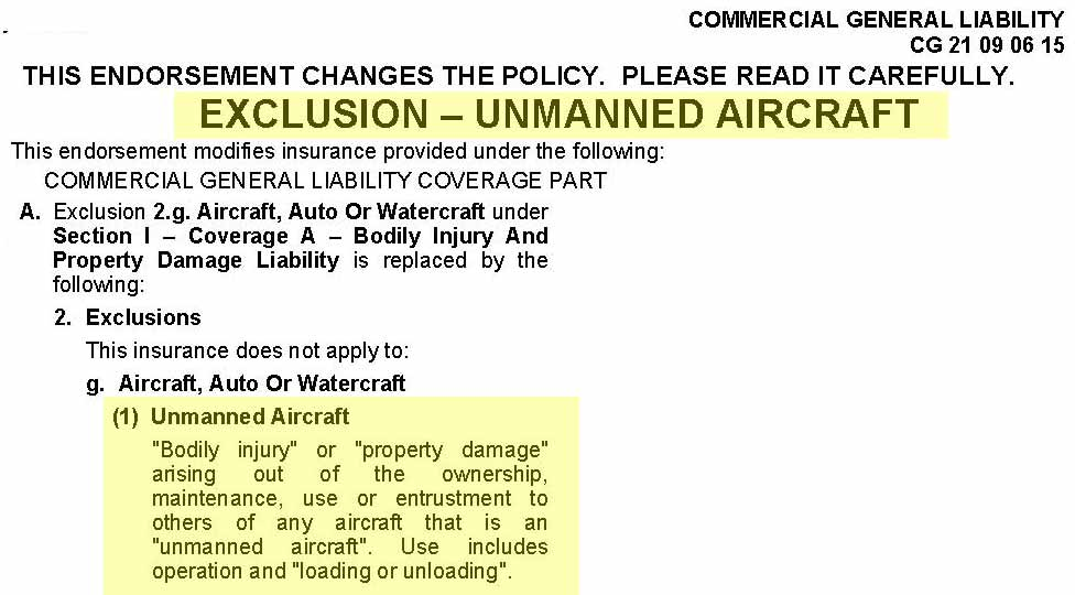 drone liability insurance exclusion