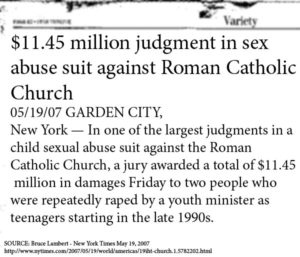 11.5 Million Dollar sex abuse suit Roman Catholic Church